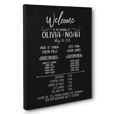 Custom Made Chalkboard Welcome To Our Wedding Ceremony Personalized Canvas Art