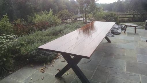 Custom Made Outdoor Trestle Table With Ipe Top (38x144)