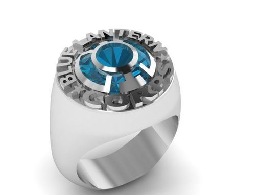 Custom Made Blue Lantern Corps Gemstone Signet Ring In Solid Sterling Silver