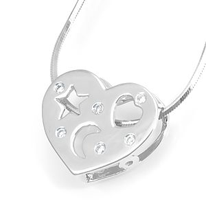 Custom Made Diamond Heart Shape Slider Pendant In 14k White Gold, Heart Pendant, Slider Pendant