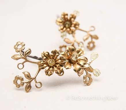 Custom Made Vintage Flower Bobbie Pins, Brass And Gold