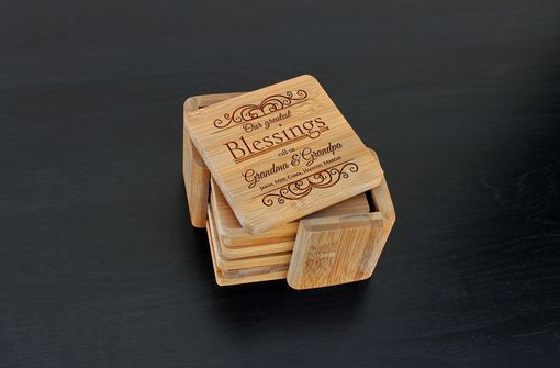 Custom Made Custom Bamboo Coasters, Custom Engraved Coasters --Cst-Bam-Greatest Blessings Grandma Grandpa