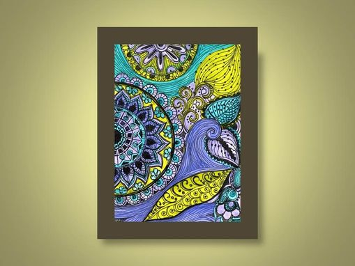 Custom Made Fine Art Print-Blue Purple Green Flowers Leaves Ink And Acrylic