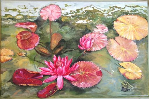 Custom Made Water Lily Pond Painted Bench