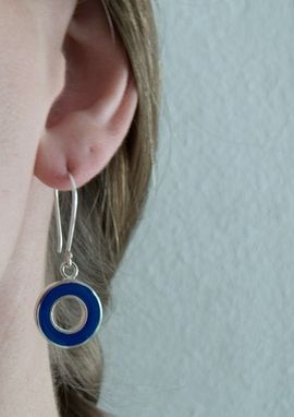 Custom Made Blue Drop Earrings - Round Blue Earrings - Cobalt Blue Dangle Earrings -Retro  Navy Blue Earrings