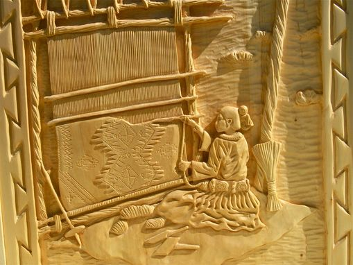 Custom Made Hand Carved Wood Panel Depicting A Navajo Weaver