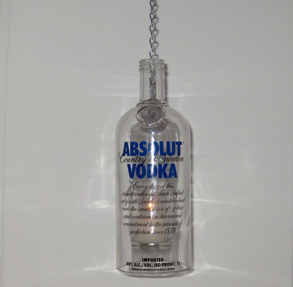 Hand Made Liqueur Bottle Chain Lantern: Garden Light/Candle Holder