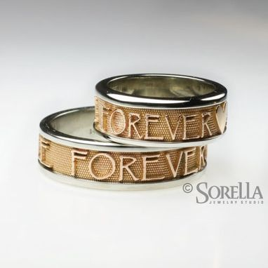 Custom Made Personalized Name Or Message Ring In Two Tone 14k Gold