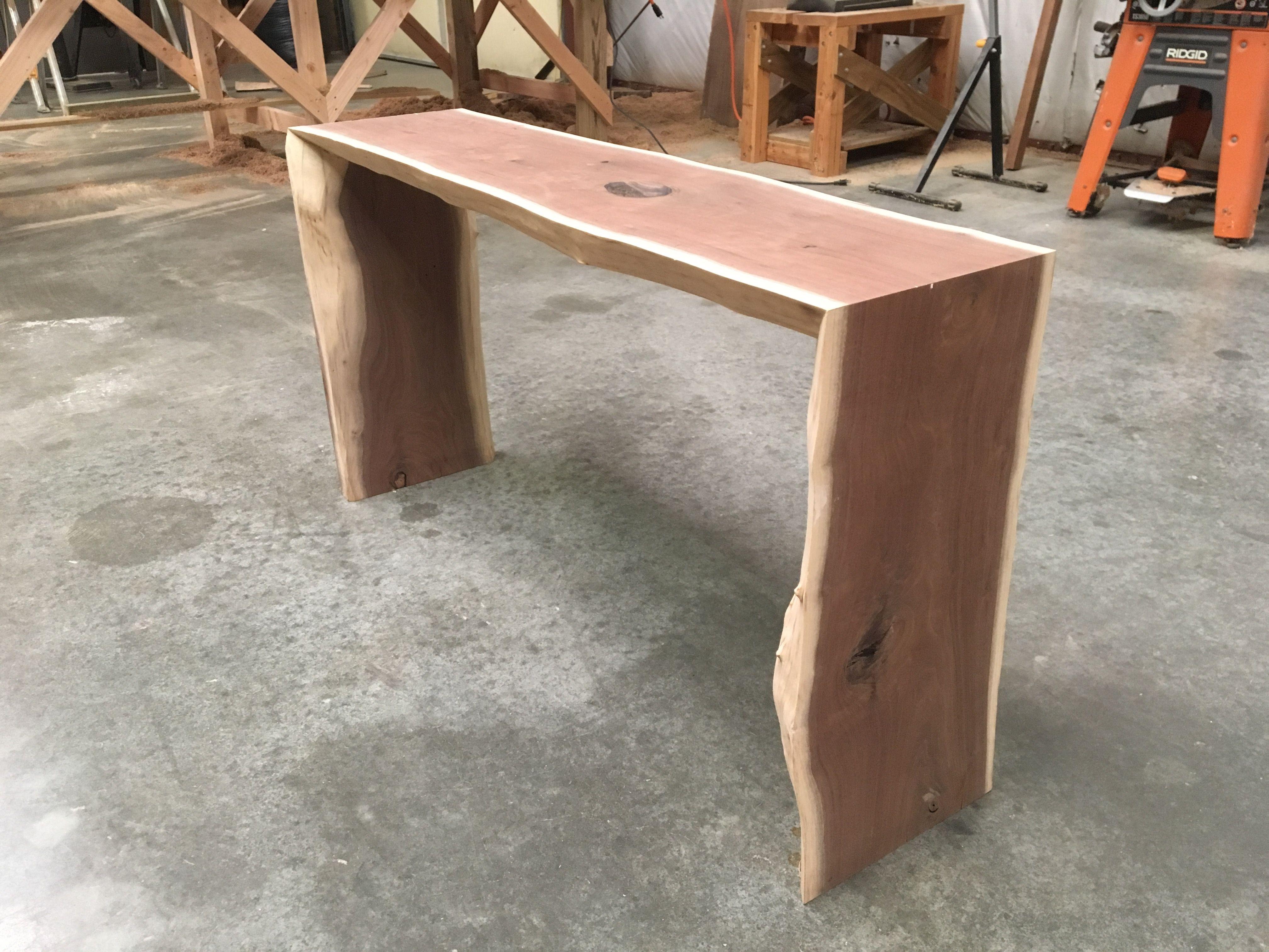 Custom Made Live Edge Black Walnut Waterfall Table By Kc