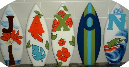 Custom Made 1ft Nursery Wood Surfboard Letters