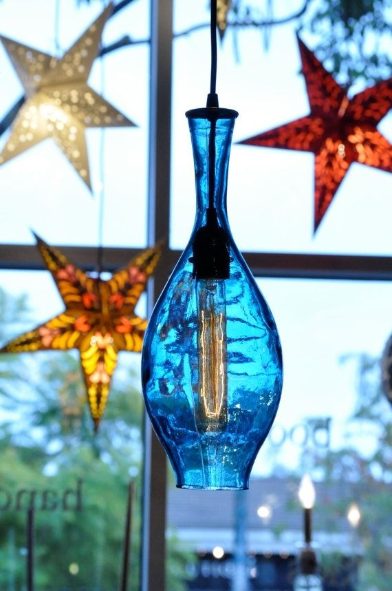 Hand Made Recycled Bottle Lamp Hanging Pendant Vintage
