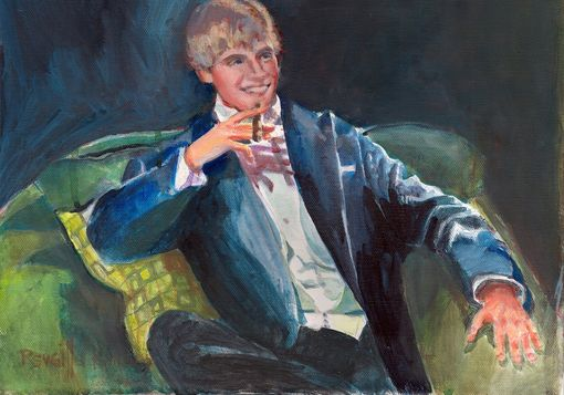 Custom Made Portrait Painting In Acrylic Of A Graduating Senior Enjoying His Autonomy
