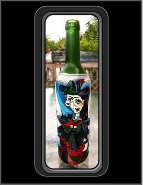 Custom Made Pablo Picasso, Dora Maar Au Chat, Masterpiece Wine Bottle, Wine Art, Kitchen Art