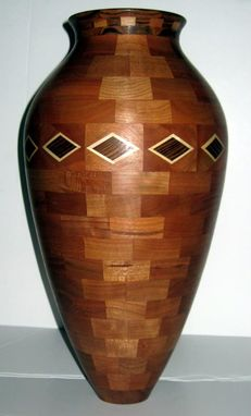 Custom Made Large Diamond Banded Vase