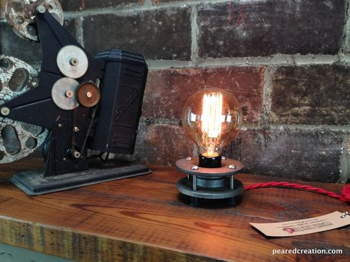 Custom Made Minimalist Table Lamp - Bare Edison Bulb