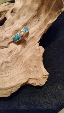 Custom Made Morganite And Turquoise Engagement Ring