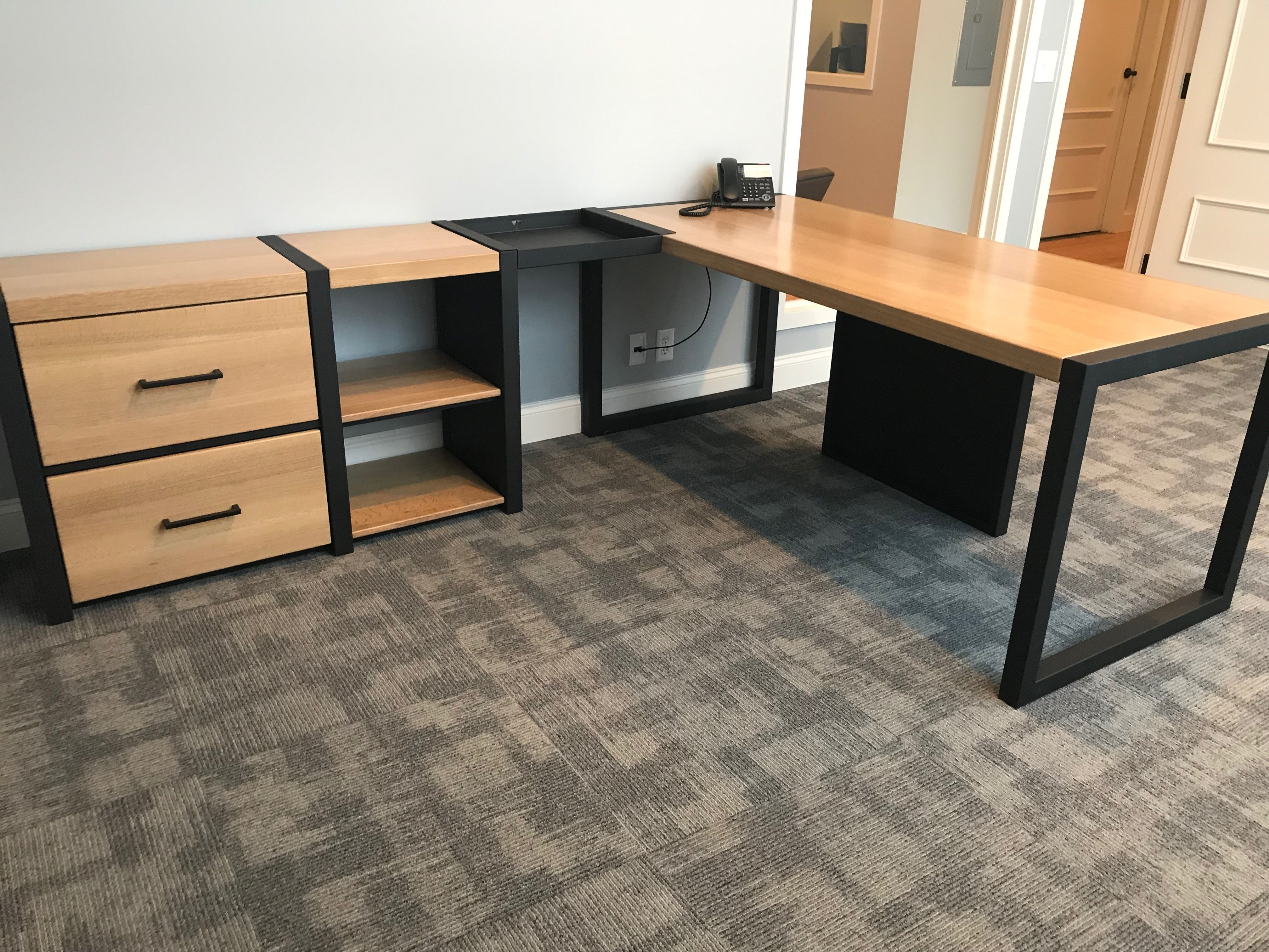 Hand Crafted Modern Desk And Storage For The Professional by Weld