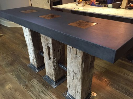 Custom Reclaimed Beam And Modern Concrete Kitchen Island By