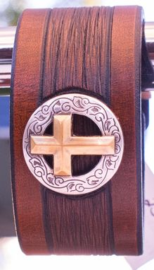 Custom Made Leather Cuff Bracelet Christian Theme