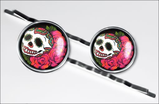 Custom Made Day Of The Dead Skull & Roses Silver Hair Clip Set 77-Shc