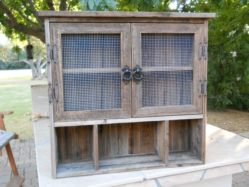 Hand Crafted Barnwood Cabinet With Cubbies By