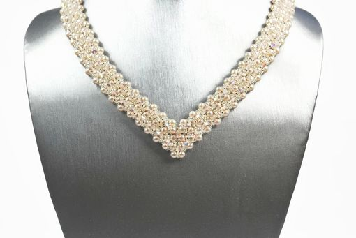 Custom Made Creamrose Pearl And Crystal Bridal Necklace