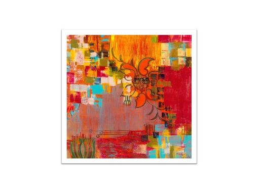 Custom Made Abstract Fine Art Print-Large- Orange Red Yellow Modern Art