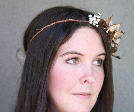 Custom Made Rustic Bridal Wreath Crown Of Pine Cones And Dried Pods, Woodland Bridal Hair
