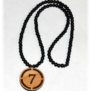Engraved necklaces engraved pendants custommade laser engraved wood charm with wood beaded necklace aloadofball Image collections