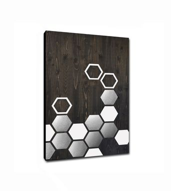 Custom Made Mod Honeycomb 36x24 - Wood Wall Art, Metal Art, Modern Home Decor, Wall Decor, Abstract Painting