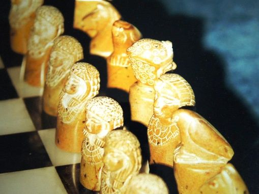 Custom Made Chess Set - Egyptian Style - Soap Stone (Sold)