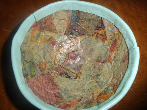 Custom Made Paper Mache Bowl W/Light Blue Leather Rim