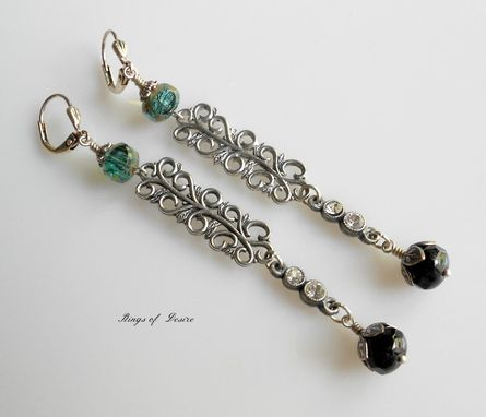 Custom Made Sold Out Earrings Teal, Black ,Antique Silver, Vintage Filagree And Rhinestones, Czech Glass Beads