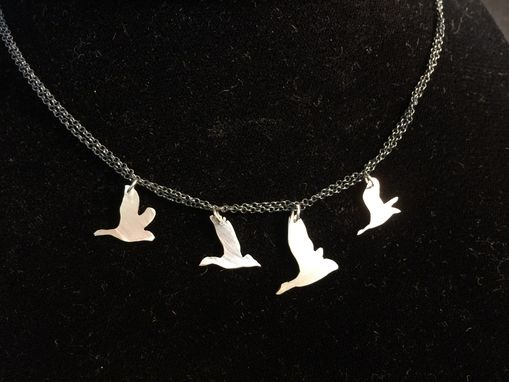 Custom Made Sterling Silver Geese Flying Necklace
