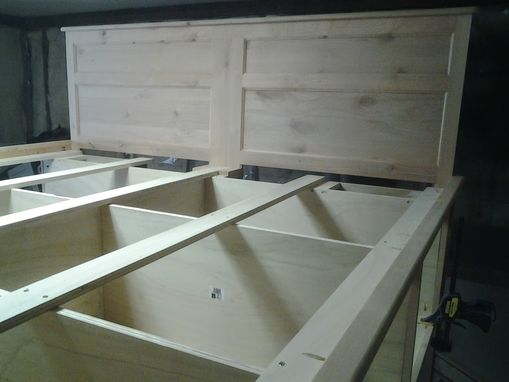 Custom Made Platform Bed With 12 Drawers