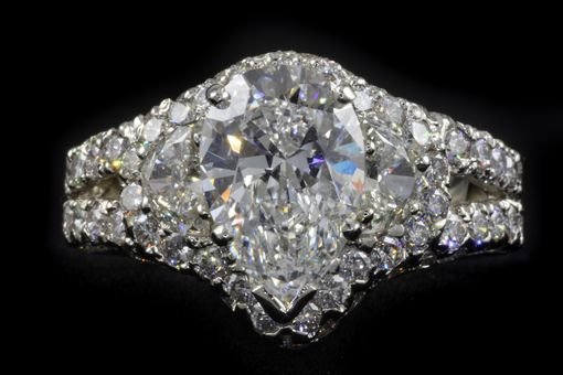 Custom Made Three Carat Pear Shape Diamond Ring In 18k White