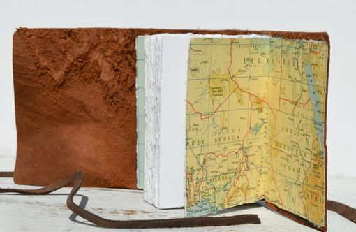 Custom Made Handmade Ostrich Hide Bound Journal African Safari Pocket Travel Diary Vintage Map Art Book
