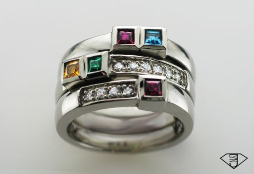 Custom Made Modern White Gold, Gemstone And Diamond Family Ring