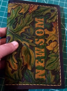 Custom Made Custom Hand Tooled Leather Check Book Cover