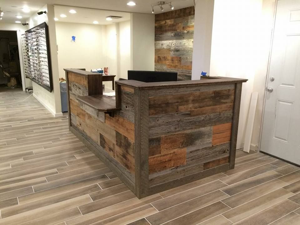 Hand Made Custom Barn Wood Reception Desk By Defiance