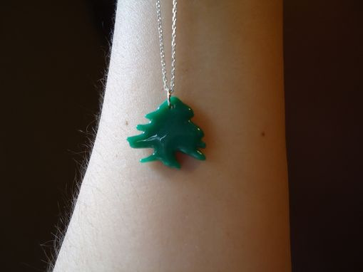 Custom Made Glass Lebanese Cedar Tree Pendant Necklace