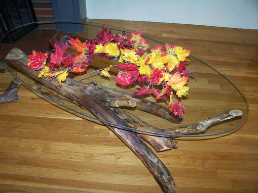 Custom Made Driftwood Glass Topped Coffee Table