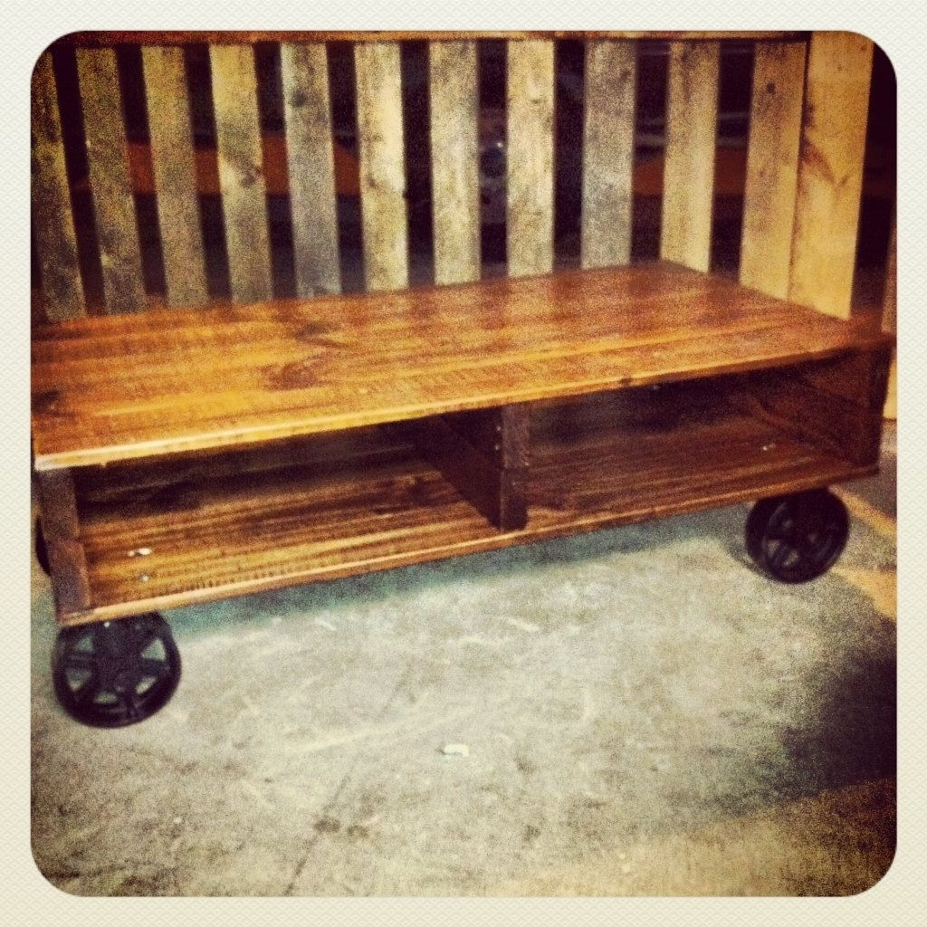 Hand crafted industrial cart coffee table with cast iron casters hand crafted industrial cart coffee table with cast iron casters by js reclaimed wood custom furniture custommade geotapseo Image collections