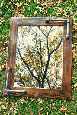 Custom Made Distressed Oak Vintage Industrial Inspired Mirror. Steel Pipe Integrated In Oak Frame.