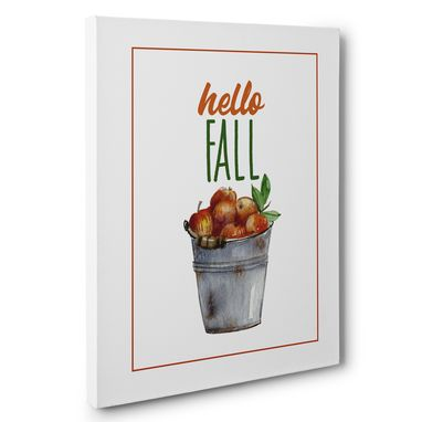 Custom Made Hello Fall Apples Canvas Wall Art
