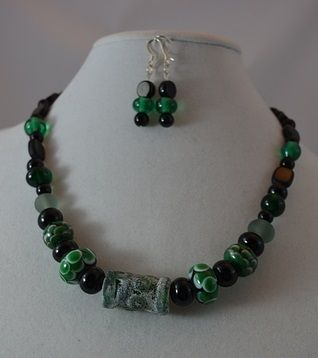 Custom Made Green Gage - Necklace & Earring Set