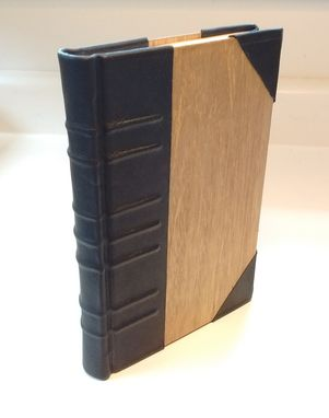 Custom Made Elegant Handmade Book, Case-Bound, In Wood And Black Leather.