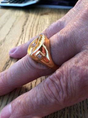 Custom Made Company Logo Signet Ring With Diamonds - Yellow Gold Plated - Cast In Silver