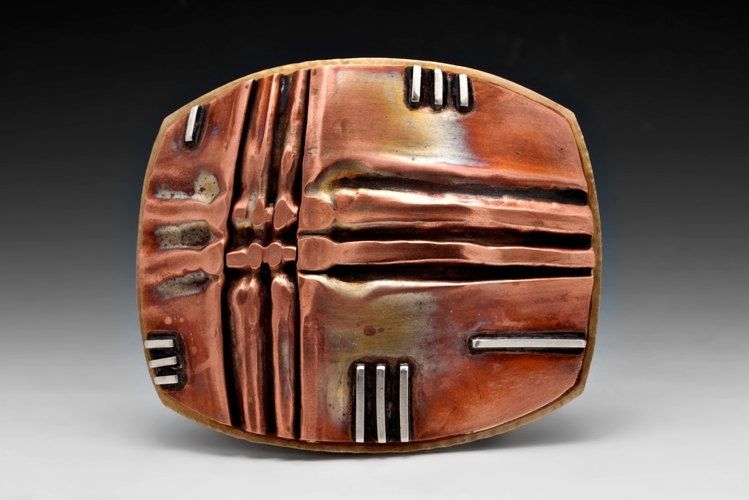 Handmade Fold Form Belt Buckle In Copper Brass Sterling