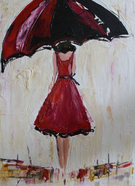 Custom Made Umbrella Girl Red, Acrylic Painting Sold